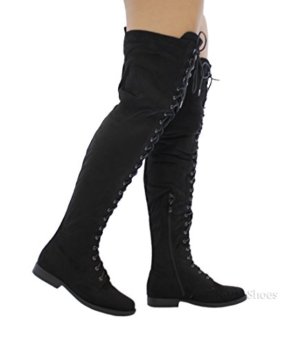 Women Thigh High Boots (MVE Shoes Flat Lace Up Over The Knee High Riding Boots, Black size 10)