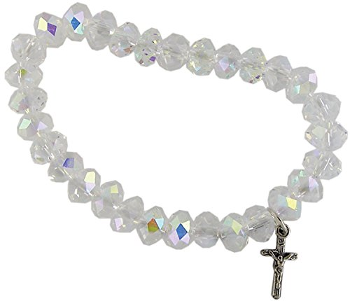 - Stretch Bracelet With Aurora Borealis Beads And Cross