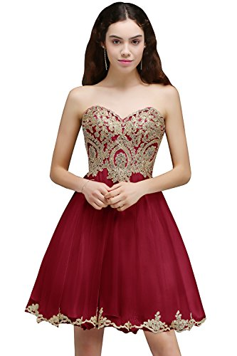 MisShow Women's Beads Appliqued Sleeveless Open Back A Line Cocktail Homecoming Party Dress