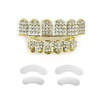 TSANLY Gold Grillz Teeth Set CZ Diamonds Grillz 24k Plated Gold Top & Bottom Grill...