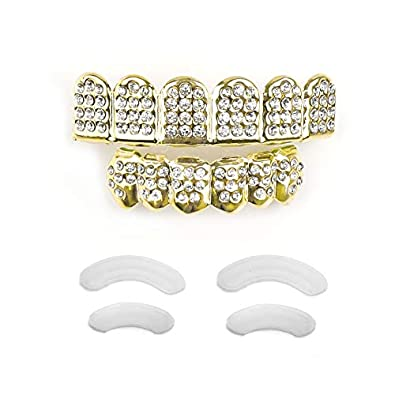 Gold Grillz Teeth Set New Custom Fit 14k Plated Gold Diamonds Grillz - All  Types of Teeth–6pcs Top and Bottom Grill Set Hip Hop Bling Grillz for