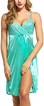 Adome Women's Satin Nightgown Lace Trim