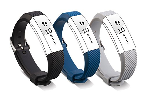 Newest Fitbit Alta HR and Alta Band with Metal Clasp and Steel Buckle, BeneStellar 3-Pack Silicone Replacement Small Large Band Bracelet Strap for Fitbit Alta HR and Alta, - Buckle Small
