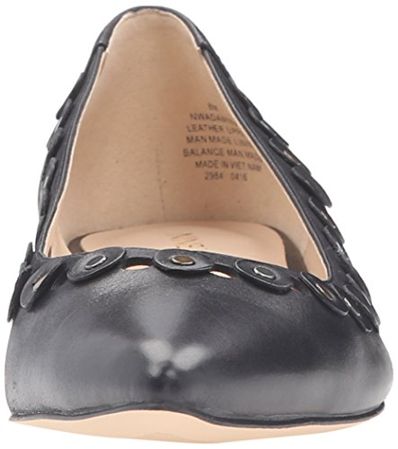 Toe Nine Pointed West Adaminia Women's Black Leather Flat wSSXqva