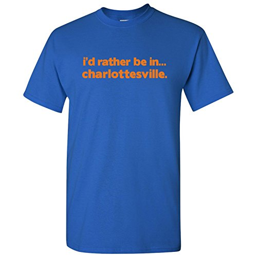 I'd Rather Be In Charlottesville Basic Cotton T-Shirt - Small - Royal - Charlottesville Clothing Men's