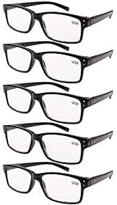 Eyekepper 5-pack Spring Hinges Vintage Reading Glasses Men Readers Black +2.75