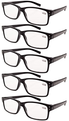 Eyekepper 5-Pack Spring Hinges Vintage Reading Glasses Men Readers Black ()