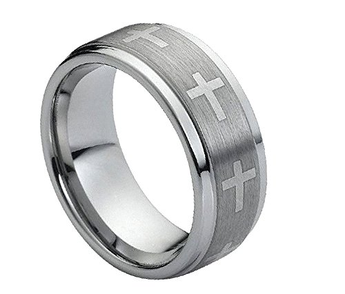 (9mm - Man or Ladies - Tungsten Carbide Stepped Edge Brushed Center with Crosses Wedding Band Ring)