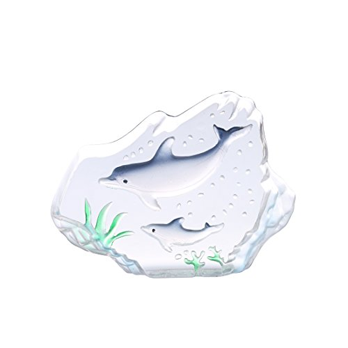 H&D Crystal Mother and Son Dolphins Figurine Collectible Carved Iceberg Paperweight Glass Table Centerpiece