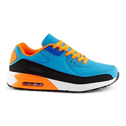 FiveSix Herren Damen Sneaker Sportschuhe Schnür Lauf Freizeit Fitness Dämpfung Low Top Unisex Schuhe Schwarz/Blau/Orange-M