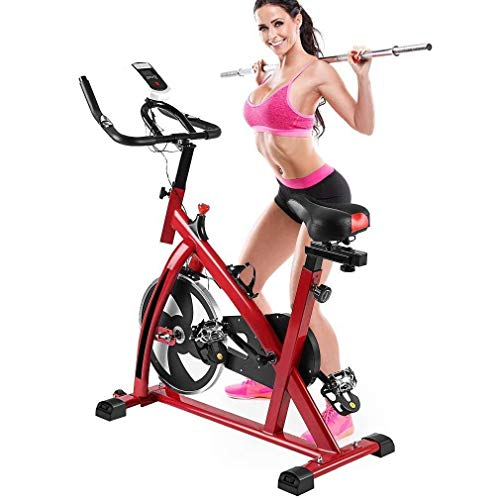 Indoor Cycling Bike Cycle Exercise Bike, Mini Exercise Bike Indoor Cycle Trainer Smooth Trainer Equipment Bicycle Training High Weight Capacity Commercial Indoor Cycling Bike w/ LCD Display (red 1)