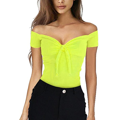 HIRIRI Stylish Women Crop Top Tunic Ladies Pure Color Off Shoulder Shirts Casual Sexy Blouse ()