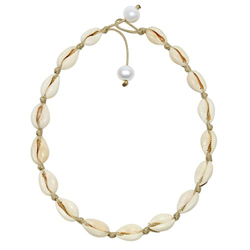 POTESSA Natural Shell Beads Handmade Hawaii Wakiki Beach Choker for Girls and Ladies Brown