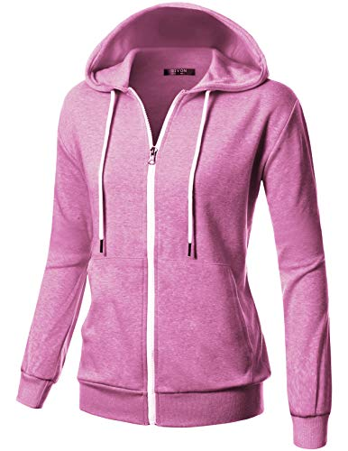 Womens Pink Hoodie Sweatshirt - GIVON Womens Comfortable Long Sleeve Lightweight Zip-up Kanga Pocket Hoodie with Inside Pocket for Cell Phone/DCF200-PINK-S