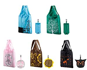 Bundle Monster New Chic Eco-Friendly Design Reusable Foldable Shopping Tote Bag - 5 Pack