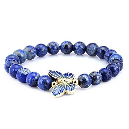 Sterling Lapis Bracelet - Gem Stone King 8mm Simulated-Lapis Lazuli Sterling silver Cloisonne Enamel Butterfly Bracelet