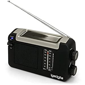 41jmojxyioL. SS300  - iGadgitz Xtra Wind Up, Solar, & USB Rechargeable Portable AM/FM Radio with 3 Year Warranty