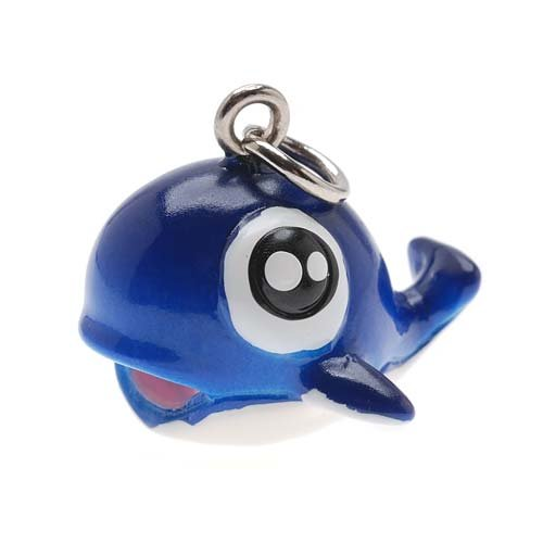 Hand Painted 3-D Blue Whale Charm 17.5mm Lightweight (Blue Whale Charm)