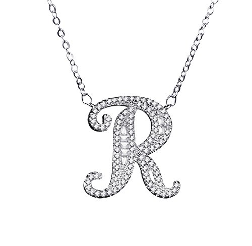 Uloveido Initial R Letter White Gold Plated Necklace Pendant for Women Girls Kids Mom Friend with Cubic Zirconia Stone CZ Crystals - Initial Crystal Pendant