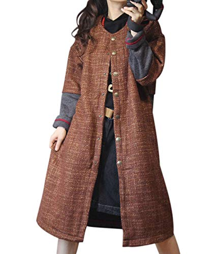 YESNO YX6 Women Long Wool Blend Jacket Color Block Knit Stitched Fleece Lined Round Neck Long Sleeve/Pockets