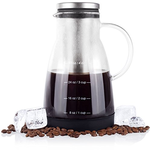 Bean Longing Cold Brew Coffee Maker - 32 oz - Premium Quality Glass - Perfect For Homemade Cold Brew and Iced Coffee - Includes Unique Non-Slip Silicone Stem