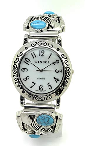 Turquoise Silver Watch Bracelet - Mens Ladies Western Turquoise Stones Stretch Elastic Band Fashion Watch Wincci