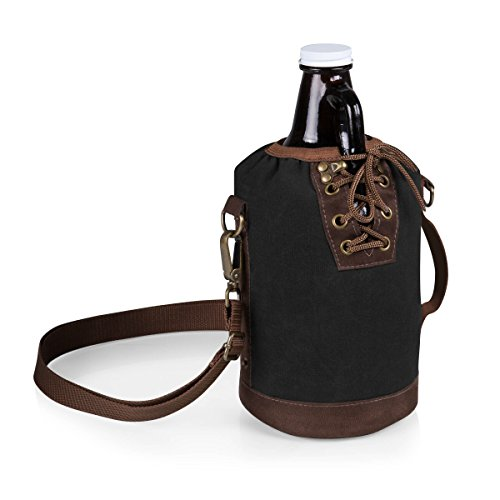 Legacy-A Picnic Time Brand Amber Glass with Canvas Lace up Growler Tote, 64-Ounce, Black