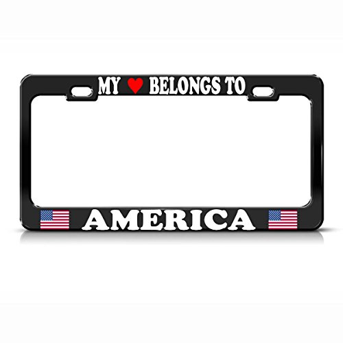 My Heart Belongs to America American Flag Black License Plate Frame Metal Tag Perfect for Men Women Car garadge - Heart Head Seminole