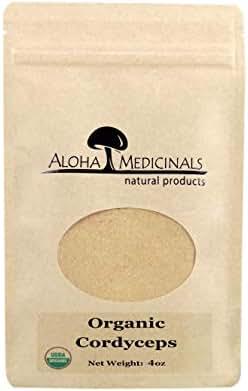 Aloha Medicinals - Pure Cordyceps - Certified Organic Mushrooms – Cordyceps Militaris – Cordyceps Sinensis - Supports Immunity, Energy and Stamina – 4oz Bag (Powder)