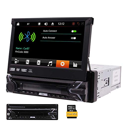 in In-Dash Car DVD CD Player 7 inch Retractable Touch Screen Car Monitor player GPS Navigation Car Radio Bluetooth FM/AM USB/SD AUX Wireless Remote Control Included ()