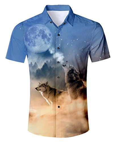 Uideazone Teen Boys 3D Printed Wolf Moon T-Shirt Cool Graphic Tee Shirt Top (Moon T-shirt Wolf)