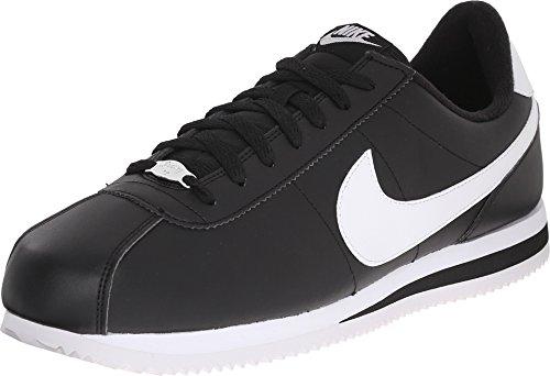 - Nike Men's Cortez Basic Leather Shoe Black/Metallic Silver/White Size 15 M US