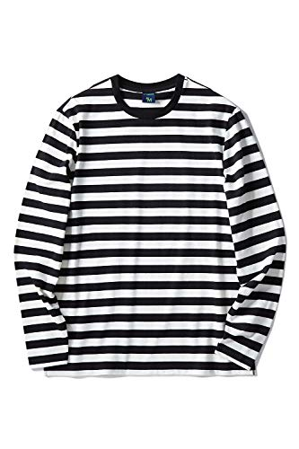 - Zengjo Men's Casual Cotton Spandex Striped Crewneck Long-Sleeve T-Shirt Basic Pullover Stripe tee Shirt (XL, Black&White Wide)