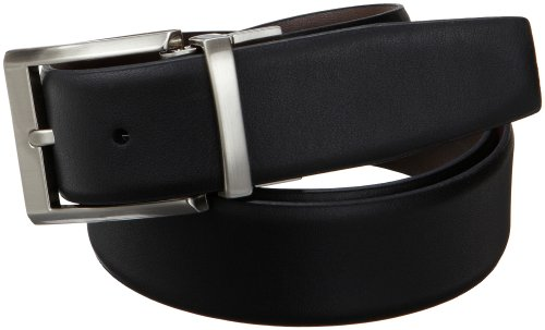 Calvin Klein Men's Smooth Leather Reversible Belt, Black/Brown, (Reversible Smooth Leather)