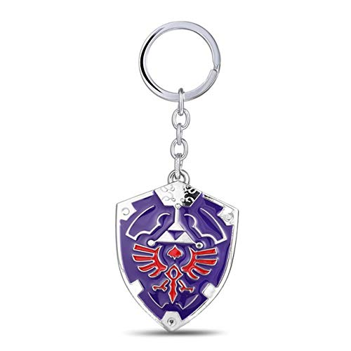 Value-Smart-Toys - New Design 3D Game The Legend Of Zelda Ocarina Of Time Enamel Metal Hylian Shield logo Keychain Cosplay Accessories Jewelry
