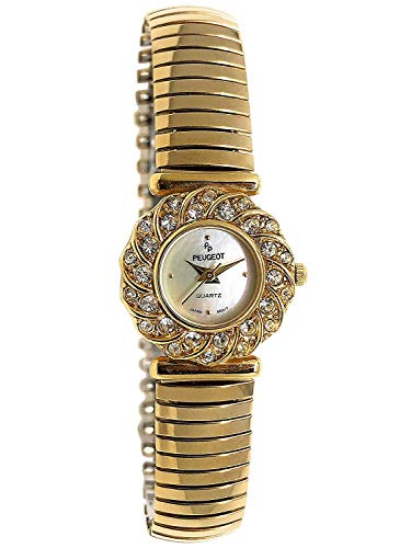 Peugeot Women 14Kt Gold Plated Crystal Bezel Watch with Soft Expansion Bracelet ()