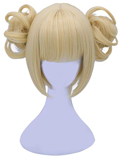 Morvally Himiko Blonde Cosplay Halloween Costume Short Straight Wig with Buns for Women Girl Wigs