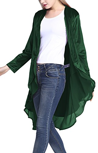 Urban CoCo Women's Long Sleeve Velvet Cardigan Coat with Asymmetric Chiffon Hem (S, Green)