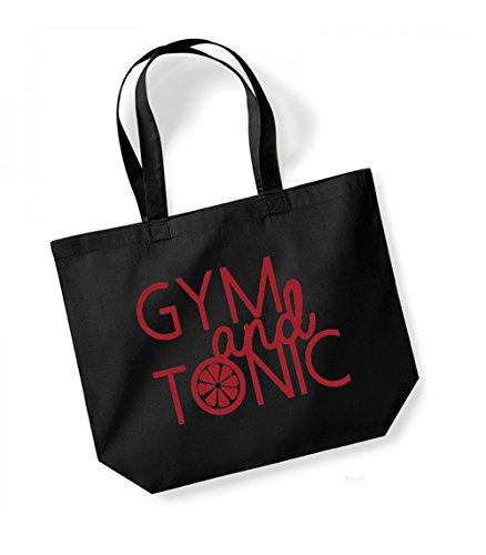 Gym and Tonic - Large Canvas Fun Slogan Tote Bag Black/Red