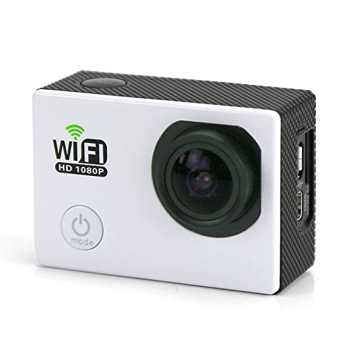 Camera sport wifi étanche caisson waterproof 12 MP Full HD Blanc 32Go
