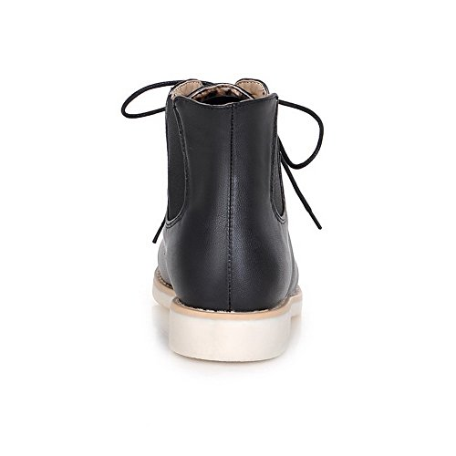 Black AllhqFashion Womens Up Material Lace Top Low Heels Low Soft Boots Solid Pg6qP