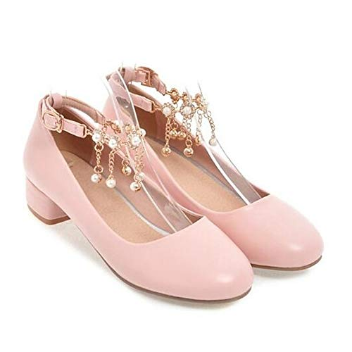 Black Heel Heels Pump Women's Pink Chunky Shoes PU White Basic Pink ZHZNVX Spring Polyurethane nWPFqwUUa