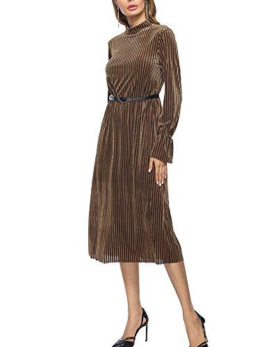 de de Vestidos Mangas Largas Ropa Bodas de Mujer Vestido Larga Elegantes Marrón Fiesta Fiesta para 7qdwrqa