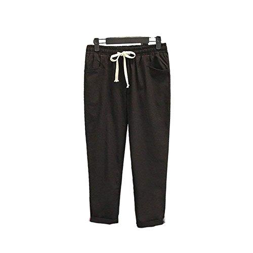 Tempo Libero Pants Di Elastica Chic Vita Eleganti Nero Coulisse Monocromo Pingrog Pantalone Carota Trousers Donna Estivi Pantaloni nPR7PZqS
