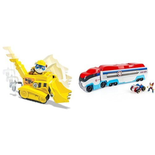 Paw Patrol Super Pup Rubble's Crane with Figure and Paw Patroller Frustration-Free Packaging Bundle