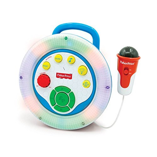 Fisher-Price Sing-Along Karaoke with Color Changing Lights,features Built-in Radio, Demo Songs, Music Line-in Jack Microphone and Volume Control, Perfect Gift for your Kid Who Loves to SING!