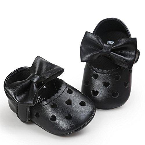 Hunpta Baby Mädchen höhlen heraus Bowknot Schuh beiläufige Schuh Turnschuh rutschfeste weiche Schuhe aus Schwarz