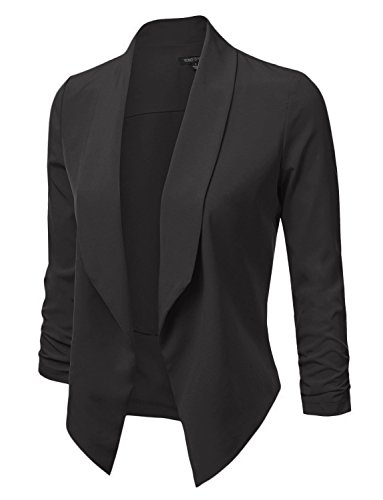 YOKO SHOP Women's Lightweight Open Front Draped Tuxedo Blazer Jacket , Ykwj52-black , XXX-Large