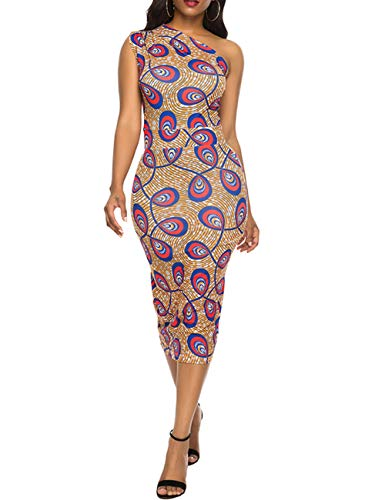 Dress for Women Elegant Sleeveless- Stretchy African Floral Bodycon Pencil Dress from YCOOCE