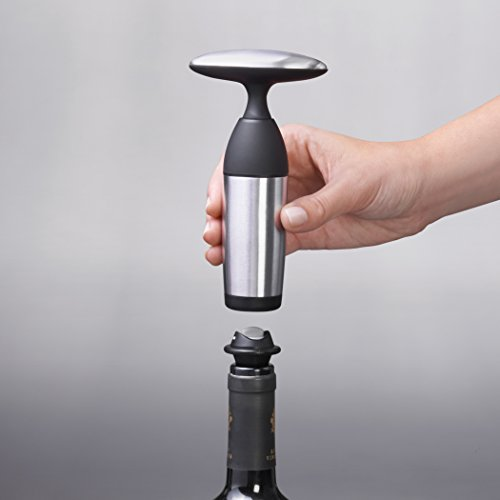 OXO SteeL Vacuum Wine Saver and Preserver with Two Stoppers by OXO (Image #2)